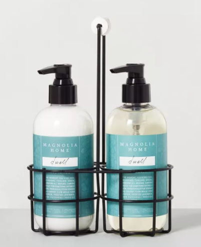 target magnolia hearth and hand lotion and hand soap gift set caddy