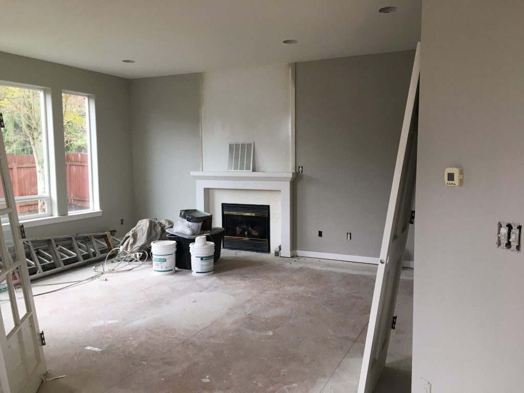 Living Room under construction, house remodel. Adding a bonus room to a 2-story great room/ living room.