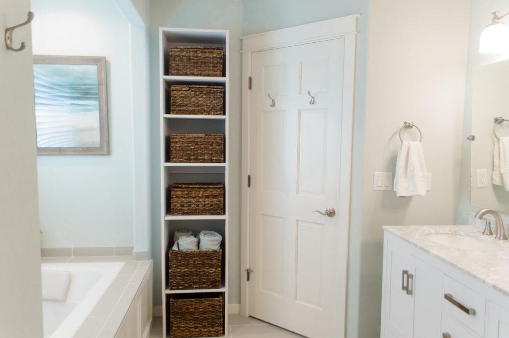 master bathroom makeover new shelves