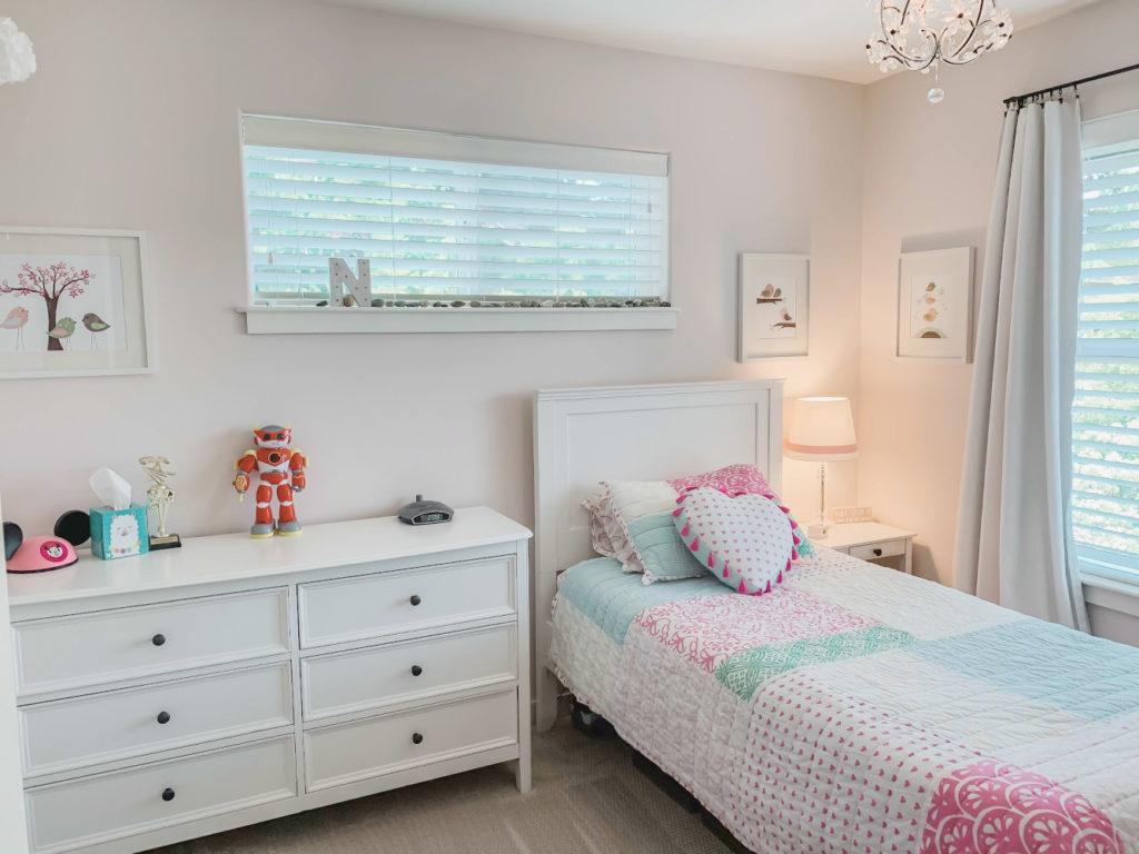 first light benjamin moore paint, pink girls bedroom, pink paint, girls room pink blue green, girls bedroom pottery barn furniture.
