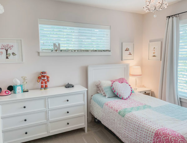 First Light pink paint color by Benjamin Moore, girls pink bedroom, pottery barn furniture, pottery barn teen, target baskets.
