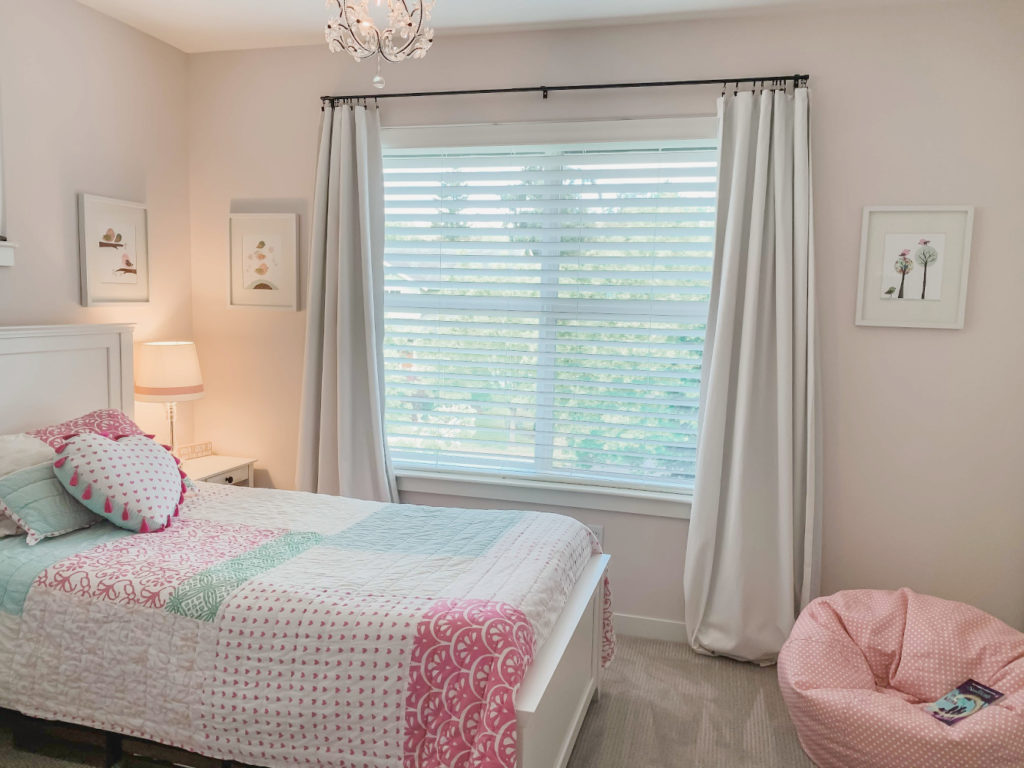 Girls bedroom - mix of pottery barn and target items. First Light Benjamin Moore paint.  Girls pink room.