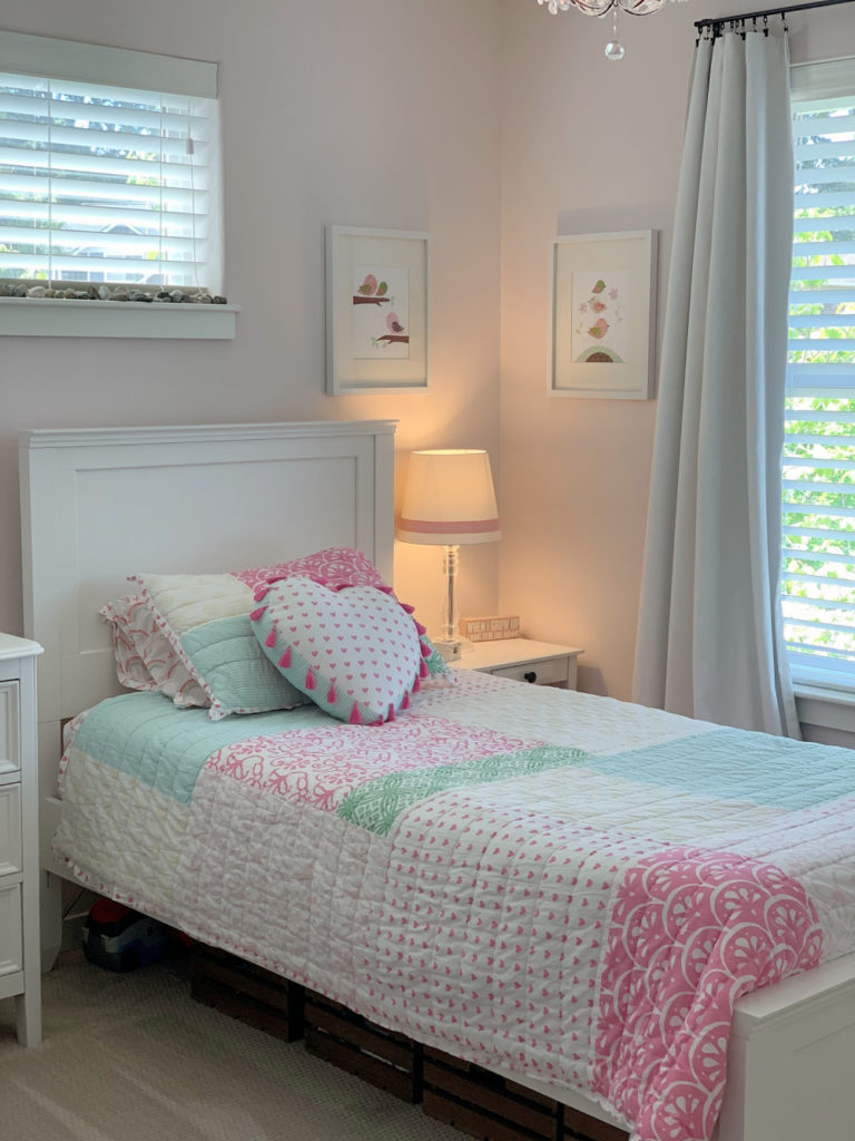 girls bedroom - pink blue green, pottery barn and target. First Light Benjamin Moore paint color.