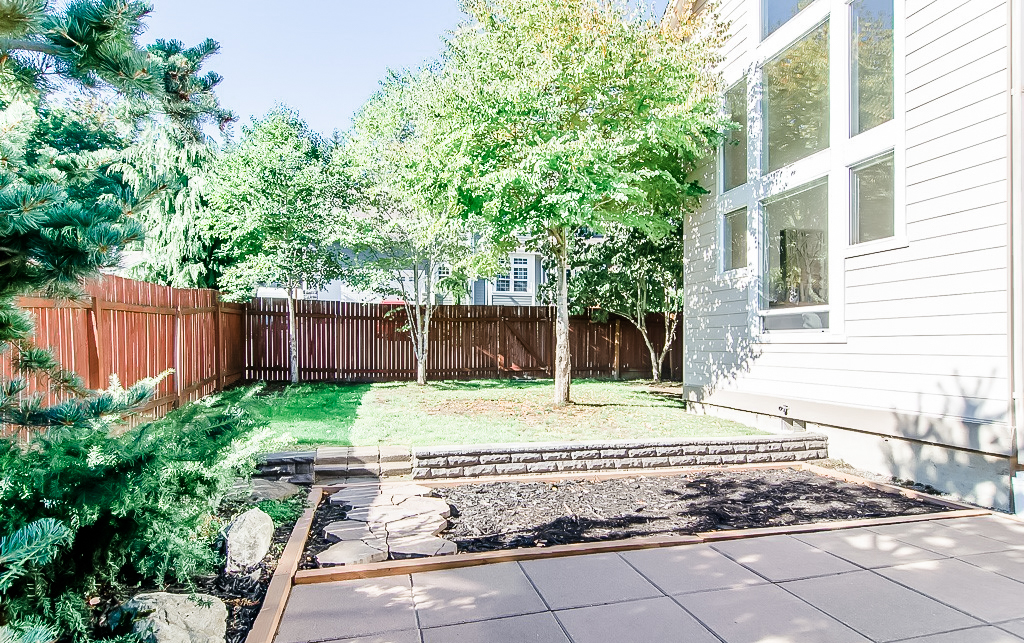 Backyard before remodel, old fence and old paint