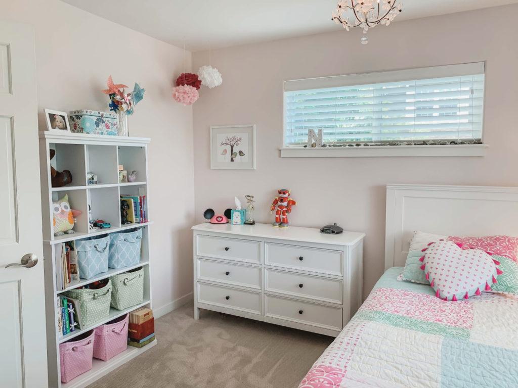 girls bedroom - pink blue green, pottery barn and target. First light benjamin moore paint. pink girls bedroom.
