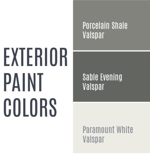 Exterior paint colors for our house remodel - Valspar Porcelain Shale, Valspar Sable Evening, Valspar Paramount White.  Gray house with white trim and black accents.