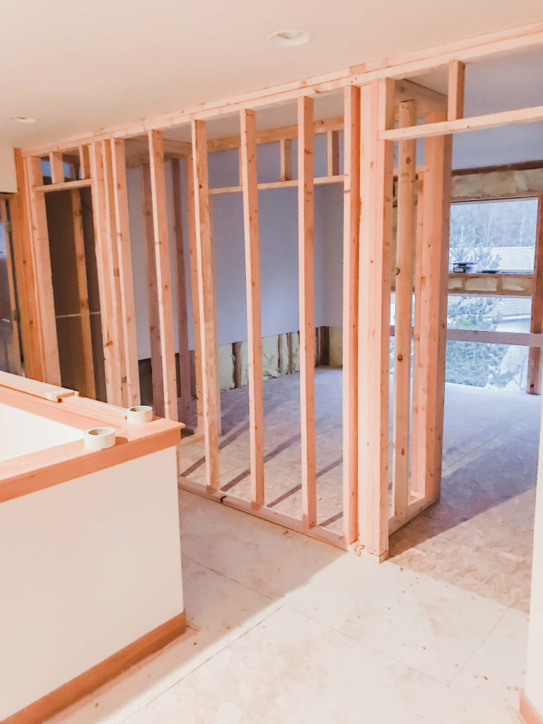 Upstairs hallway being framed - converting a two-story living room into a bonus room and living room.