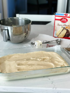 yellow cake mix getting ready for oven