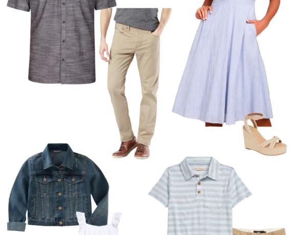 family photo outfit ideas summer beachy blues whites khaki neutral