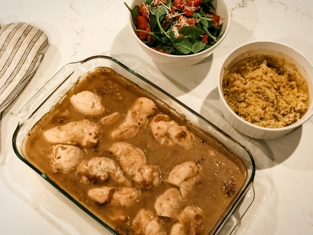 chicken and wine main dish, chicken and wine onion soup mix, cream of mushroom cream of chicken main dish, simple chicken dinner, chicken comfort food dinner.
