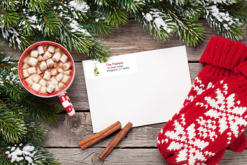 free Christmas holiday christmas tree return address labels printable, printable Word document avery labels 8860.