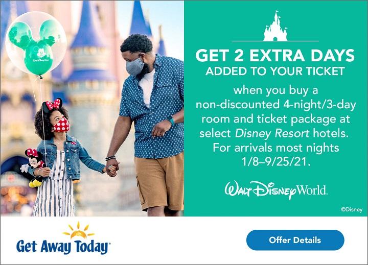 Walt Disney World 2 free ticket days, GetAway Today Disney World ticket packages, Disney vacation package deals.