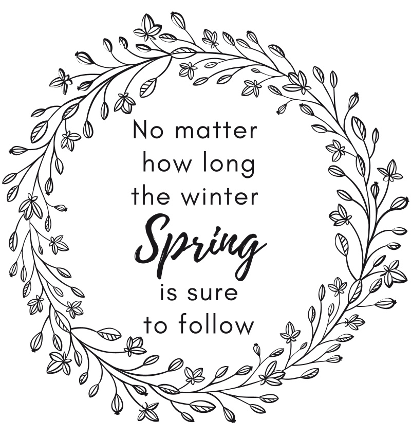 spring printable sign quote no matter how long the winter spring is sure to follow.