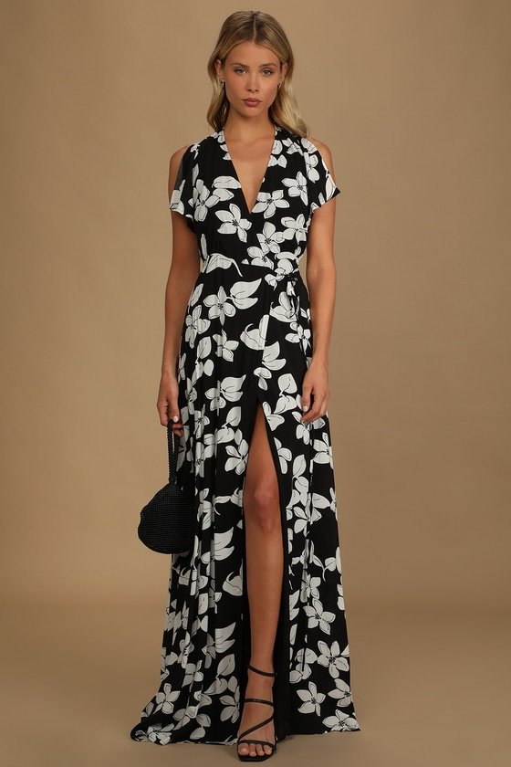 Azalea Regalia Black Floral Print Wrap Maxi Dress Lulus summer dress 2021 holiday dress vacation dress cruise dress honeymoon dress
