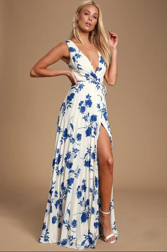 Lindsie Blue and White Floral Print Pleated Wrap Maxi Dress Lulus floral maxi dress summer vacation holiday dress cruise dress honeymoon dress 2021