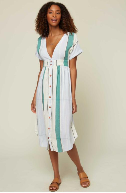 O'Neill stripe white green dress summer vacation holiday dress