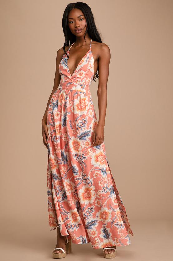 Annalisa Coral Multi Floral Print Halter Maxi Dress by O'Neill summer vacation tropical dress cruise dress honeymoon dress